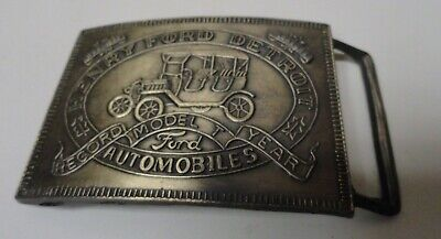Vintage Henry Ford Model T Automobiles Brass Belt buckle Detroit Record Year