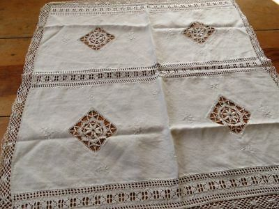 Vtg ITALIAN hand bobbin lace drawnwork Embroidered floral Tablecloth Cover Doily