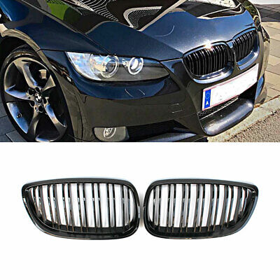 For 06-09 E92 E93 3 Series Coupe M3 Kidney Grille Grill Gloss Black Dual Slat