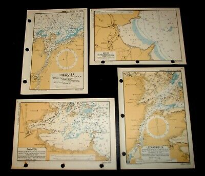 4 WW2 military D-DAY INVASION (Overlord)Plans/Maps of COASTLINE of FRANCE - 1943