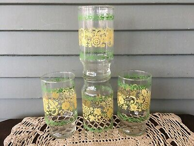 Set of 4 Vintage Swanky Swig Clear Glass Yellow & Green Floral Drinking Tumblers