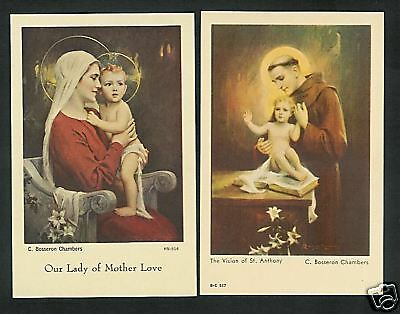 2 RARE Vintage C. Bosseron Chambers Catholic Holy Cards MOTHER LOVE & St Anthony