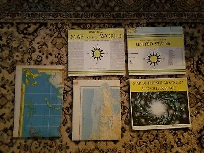 Lot of 5 Vintage Maps - Hammonds - Book Enterprises - American Geographical