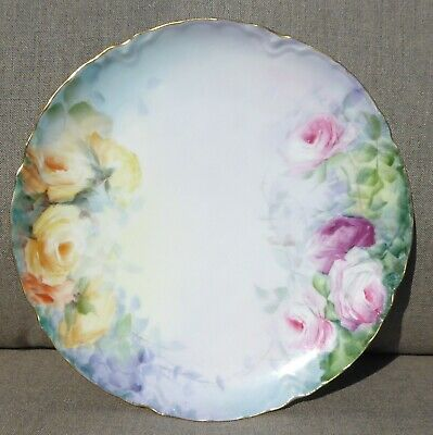 Antique Haviland Limoges France Roses Decorative Plate with Peach and Pink Roses
