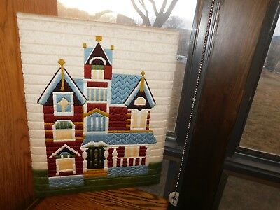 Victorian House Needlepoint Panel COMPLETED Handmade Long Stitch Vintage