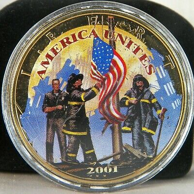 2001 America Unites 1 Oz. Silver Eagle .999 Fine Silver Sept 11th Our Heros