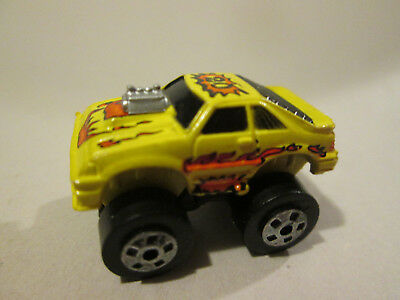 """Road Champs Micro Machines #20 Ford Mustang 4x4 Car w/Flames (1987 Yellow 1.25"""")"""