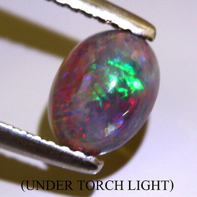 Black Opal 0.74ct 8x6mm Oval Cab 100%natural Aaa Rainbow Color Amazing!