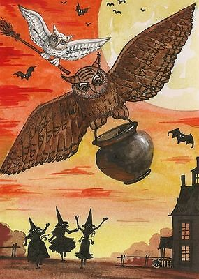 Aceo Print Of Painting Ryta Halloween Witch Haunted House Owl Cat Fine Art