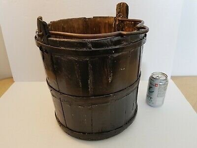 Antique wood Bucket Pail brown paint. Metal bands, metal handle.