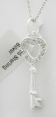 Sale !! WHITE SAPPHIRES HEART KEY PENDANT NECKLACE .925 Sterling Silver * NWT*