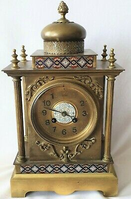Antique Cloisonne Clock French 19c Bell Strike Rare Key 8 Day