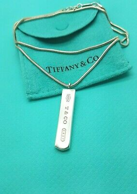"""Tiffany & Co Sterling Silver 1837 Bar Charm Pendant Snake Chain 18"""" Necklace"""