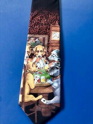 Dogs At Card Table Novelty Ralph Marlin Tie - 'dogs Playing Poker' Art Painting