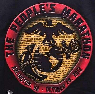 USMC Marine Corps Marathon 2012 Competitor Navy Blue Long Sleeve T Shirt Mens XL