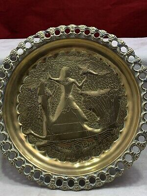 EGYPTIAN 5mm Thick Brass Plaque 400g 24.5 Cm Hunting Made In Egypt Pharaoh Plate