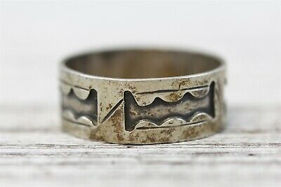 Vintage Taxco Mexico  Sterling Silver 925 Band Ring Overlay Signed Hand Made 10