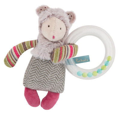 Moulin Roty Les Pachats Soft Toy Small Mouse Ring Rattle from Wyestyles