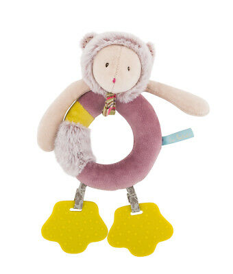 Moulin Roty Les Pachats Soft Toy Purple Mouse Ring Rattle from Wyestyles