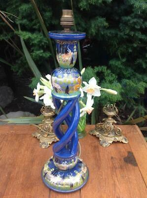 Antique Kashmiri Hand Painted Lacquer Barley Twist Lamp 19thC. Indo-Persian Art