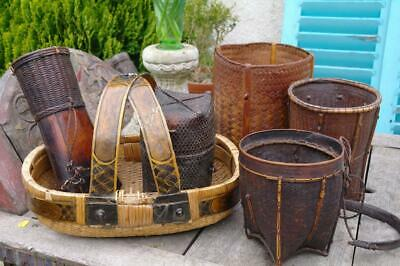 Antique Chinese Bamboo Rice Basket Collection 19th-20thC. Rustic Chic JOB LOT x6