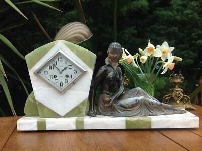 Vintage French Art Deco Signed Sculpture Centrepiece Marble Clock Fini Paris 20s