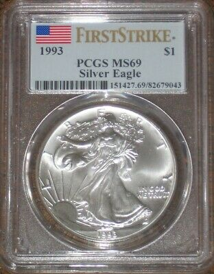 1993 Silver Eagle PCGS Certified MS 69 First strike coin ASE 1 oz graded UNC Gem