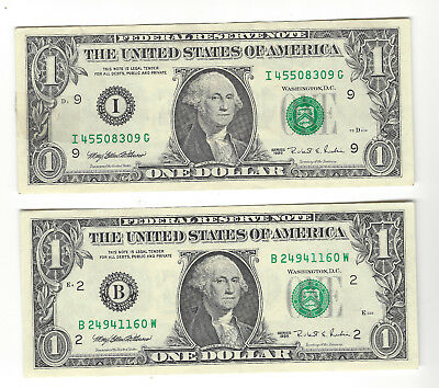 1995 $1 Us Federal Reserve Note Pair-  Ny & Minneapolis - Uncirculated