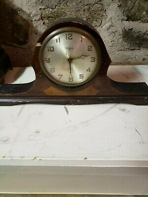 Vintage Early Gilbert Tambour Peak Mantle Clock Original Pendulum And Key