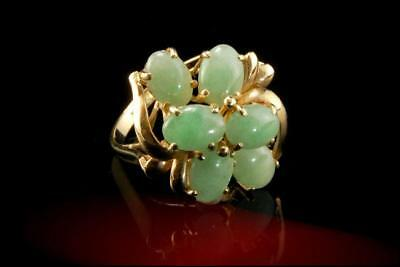 Old Chinese Apple Green Jade Cabochon 14K Gold Ring  A712-24