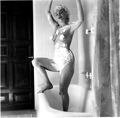 1950s Bunny Yeager Archive Vintage Photograph MARIA STINGER Shower Nude Pin Up