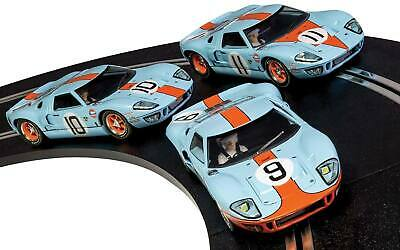 Scalextric C3896A 1:32 Legends Ford GT40 LeMans 1968 Gulf Slot Cars (Pack of 3)