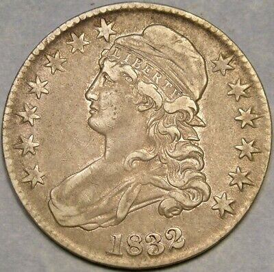 1832 Capped Bust Lettered Edge Silver Half Dollar Appealing Tones—Sharp Feathers