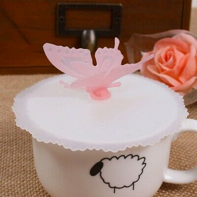 1pc Butterfly Cup Lid Silicone Glass Cup Cover Coffee Mug Anti-dust Seal Lid Cap