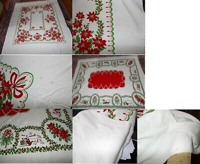 Christmas Tablecloths.2 Vintage Christmas Tablecloths One With Santa Claus Is 52 By 62 Inches