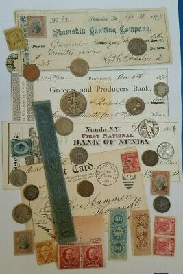 US Old Estate Lot 16 Coins & Stamps Collection Mix 5 Silver 3 Checks Postcard