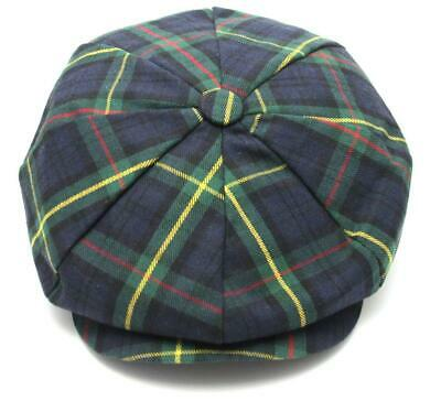 Green Tartan Checked 8 Panel Mens Newsboy Cap Cotton Rich Quality Golf Sports