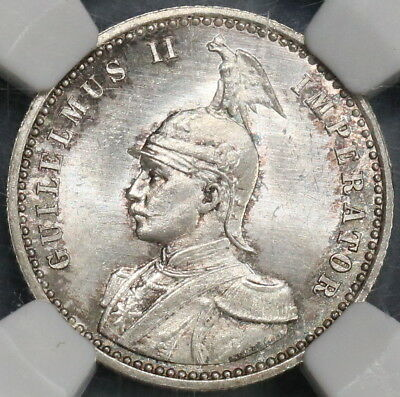 1891 NGC MS 66 German East Africa 1/4 Rupie Silver Lion Coin 77K (18122301C)