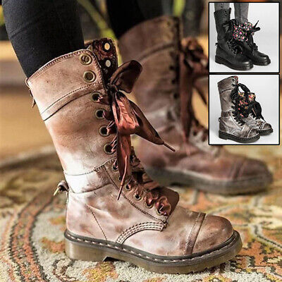 Snow Boots Shoes Size Flap Floral Inside Ankle Women Lace Up Round Toe Vintage