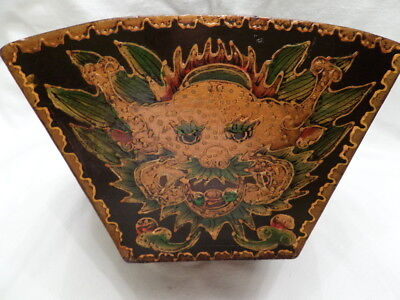 Rare Antique Chinese Asian Classic Wooden Rice Basket Decorated Wonderfully