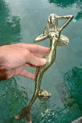 "skinny 34cm MERMAID door handle 13"" solid brass door PULL aged green patina B"