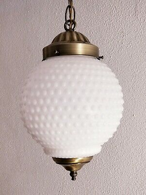 Vintage Mid Century Hobnail Glass Antique Brass Hanging Ceiling Fixture Light
