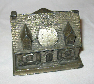 Vintage 1930s Home Ownership Coin Bank Still Own Your Own Metal Paperweight