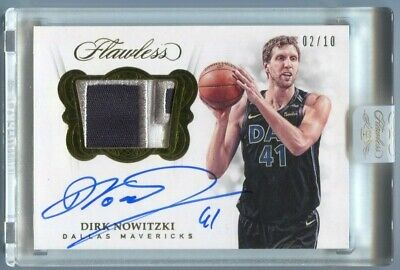3861adc561b7 18 Panini Flawless Dirk Nowitzki Autograph Gold 3 Color Patch Auto   10  Encased