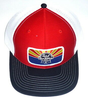 Pabst Blue Ribbon Beer PBR ARIZONA Custom AZ Mesh Trucker Hat Black Red Ball Cap