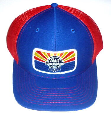Pabst Blue Ribbon Beer PBR ARIZONA Custom AZ Mesh Trucker Hat Blue Red Ball Cap