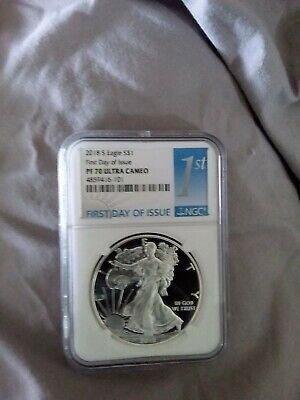 2018 S PROOF 1oz Silver Eagle First Day Of Issue NGC MS70 FDOI LABEL and OGP