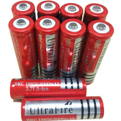 10pcs 18650 3.7V 6000mAh Ultrafire Battery Li-ion Rechargeable Lithium