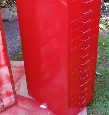 Bisley 15 multi drawer filing cabinet GARAGE WORKSHOP Painted Red Metal