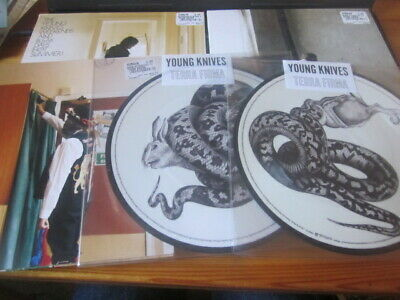 "YOUNG KNIVES Lot of 5x7"" singles, incl. 2 picture discs, 1 clear wax, postcards"